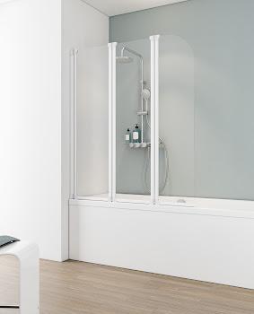 Pare-baignoire, sans cadre, 140 cm, 3 éléments, D1654