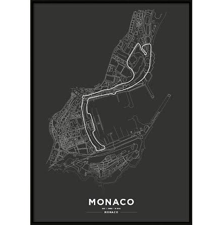Poster, Monaco race track F1 print.