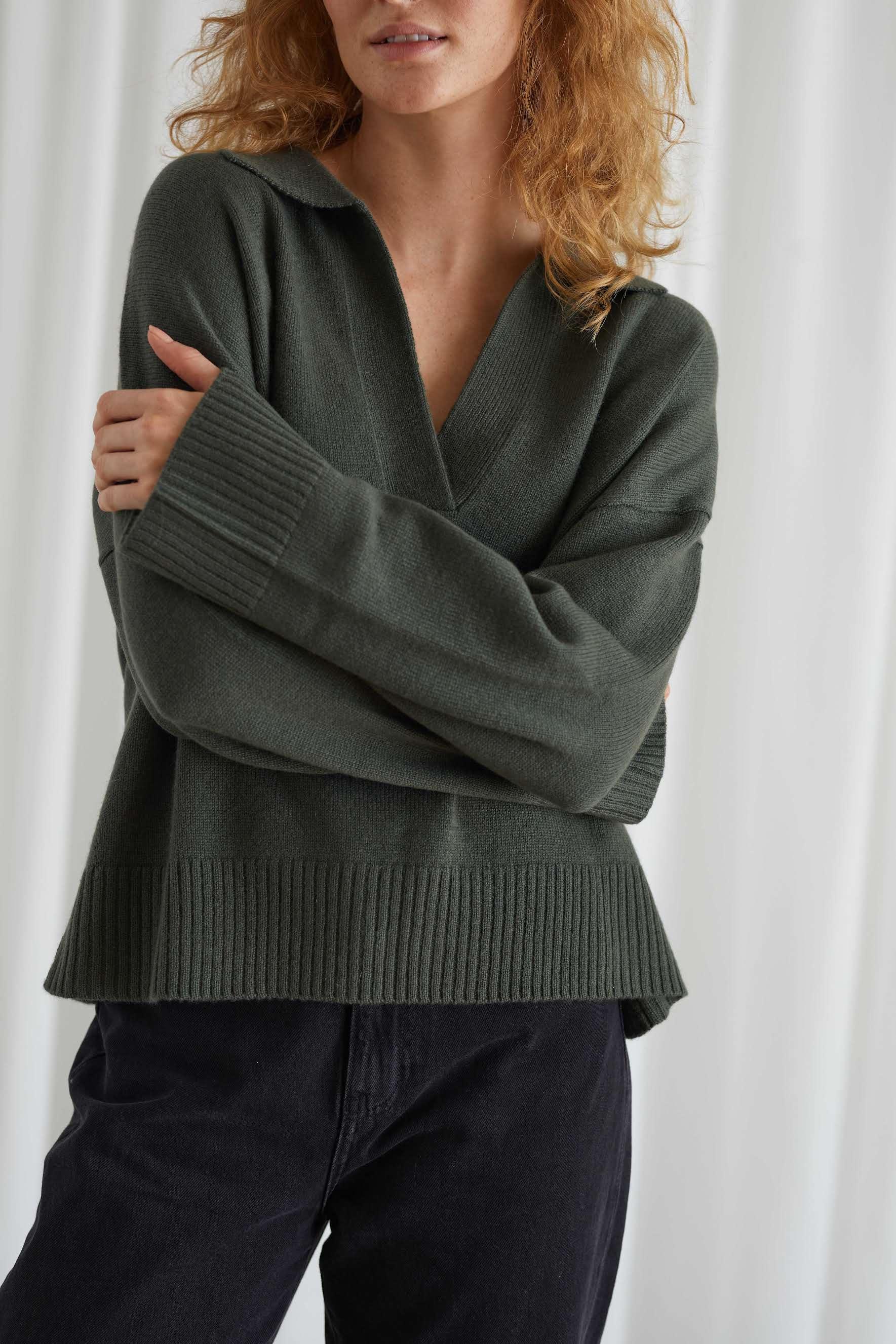 Chunky Open Collar Sweater