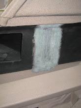 Photo: Sanded passenger side fuel gauge area for installation of Vance's fuel gagues