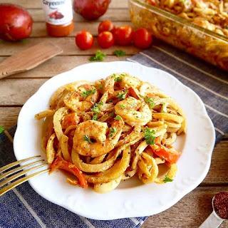 Cajun Shrimp and Spiralized Potato Casserole { Paleo, Whole30}.