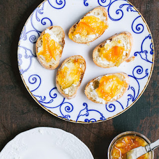 Goat Cheese and Citrus Marmalade Crostini.
