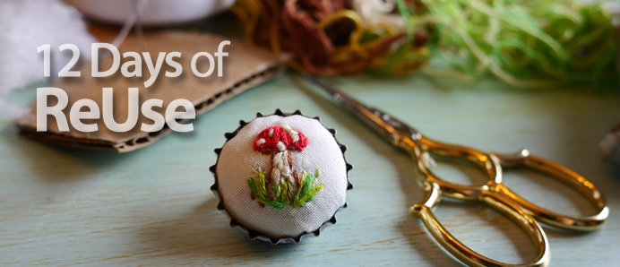 12 Days of Reuse Promo - Scissors and Bottle Cap Pin