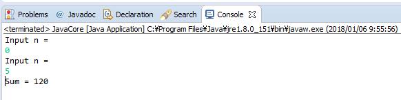Java - n! = 1.2.3...n