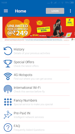My BSNL App screenshot