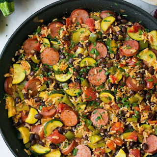 Sausage Zucchini and Brown Rice Skillet (One Pan).