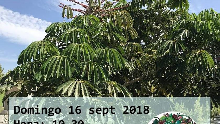Cartel del Paseo Botánico en el Parque de las Familias, de la Asociación Naturaleza con Cabeza.