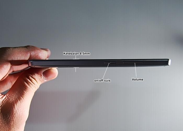 Ketebalan Neffos X1 lite yang mempunyai bentuk melengkung selesa untuk dipegang