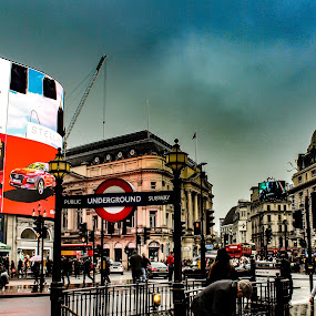 Piccadilly Circus  by Louise Corr - City,  Street & Park  Street Scenes ( london )