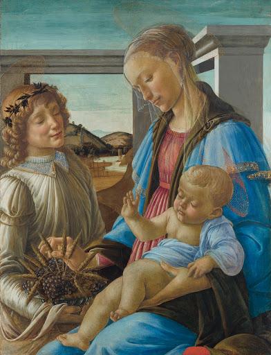 Sandro Botticelli, Madone à l'Enfant avec un ange, v.1470, détrempe, 84×65cm, Boston, Isabella Gardner Museum