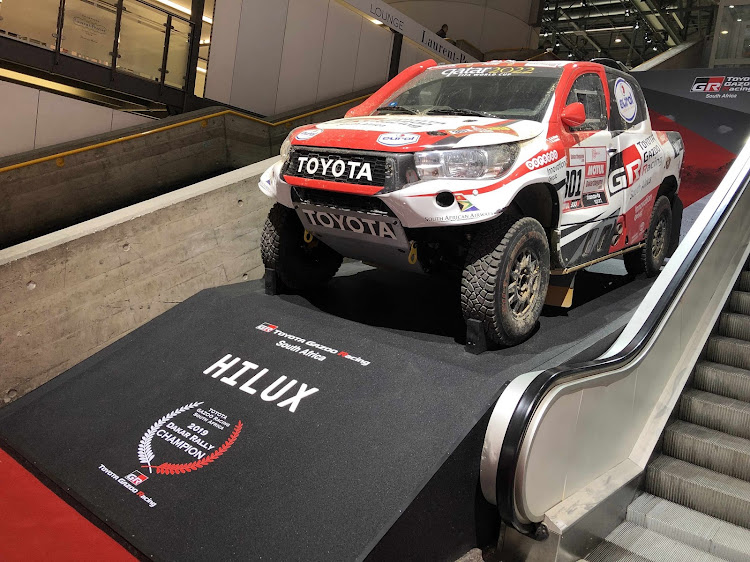 The Toyota Gazoo Racing SA Hilux that won the Dakar on display.