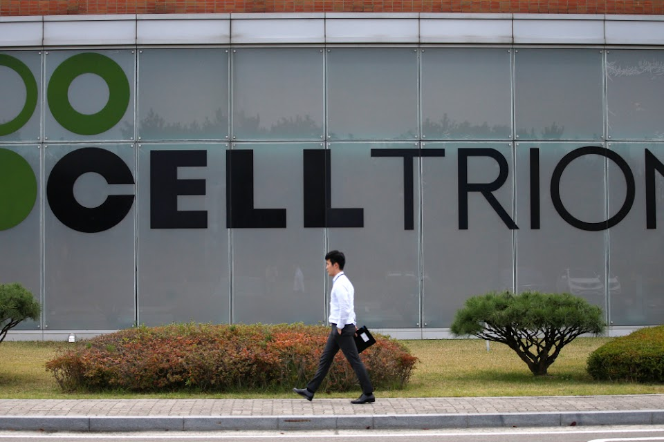 The logo of Celltrion is seen at the company's headquarters in Incheon