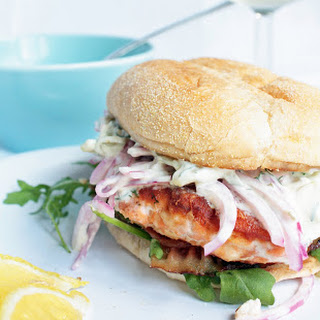 Salmon Burger with Dill/Caper Tartar Sauce and Red Onion Ceviche.