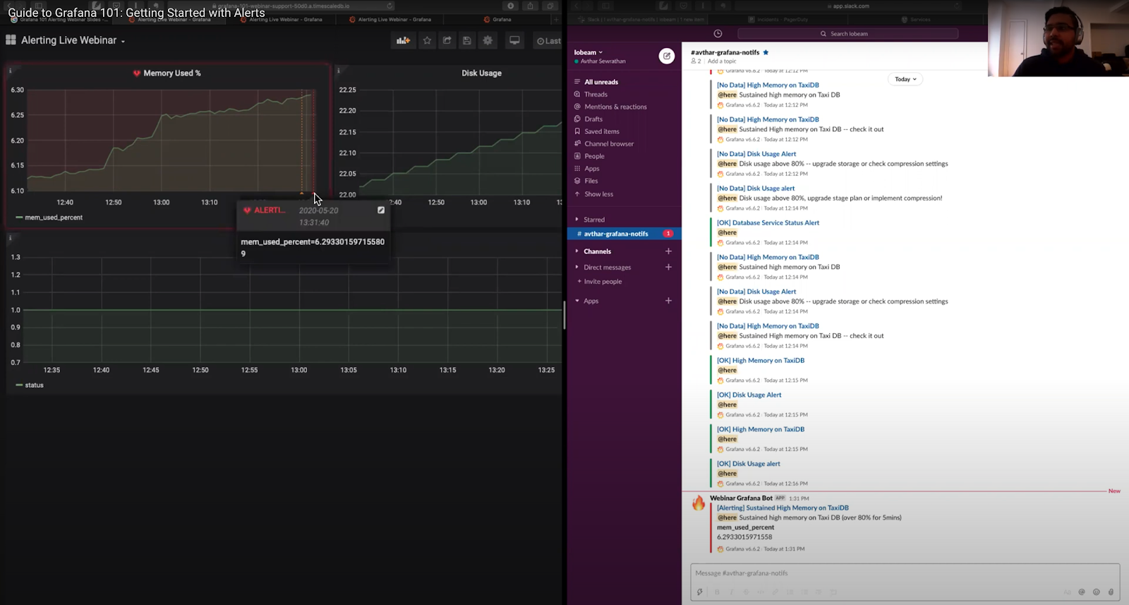 Grafana dashboard and Slack channel side by side, showing an alert from Grafana sent to Slack