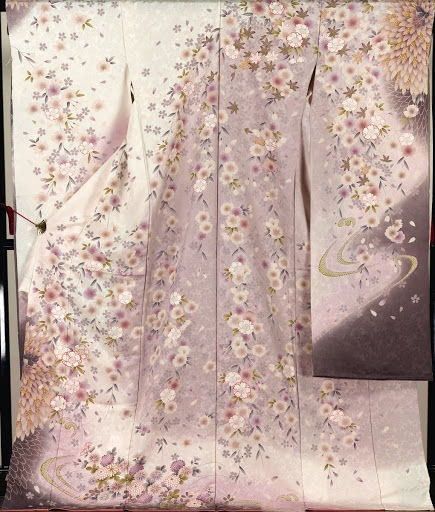 Furisode Kimono 'Weeping cherry blossoms pattern'