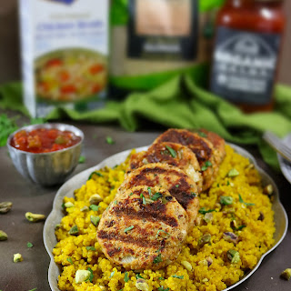 Broth & Salsa Flavored Salmon Burgers with Turmeric Quinoa