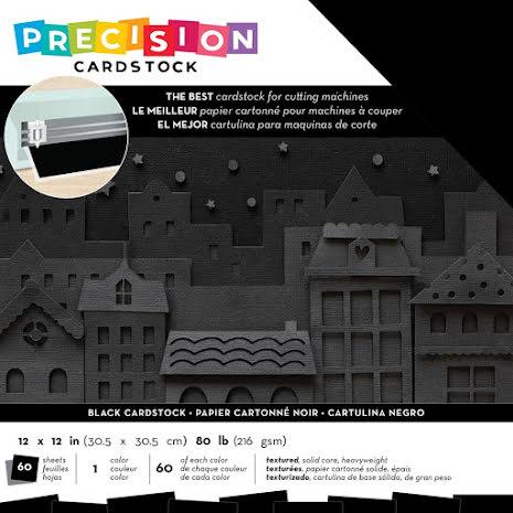 American Crafts Precision Cardstock Pack 12X12 60/Pkg - Black Textured