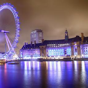 London Eye by Abdul Rehman - City,  Street & Park  Night ( uk, london,  )
