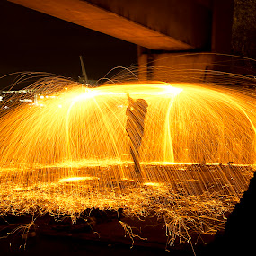 Man on fire by Robert Little - Abstract Light Painting ( colour, light painting, wire wool, night, bridge, sparks )