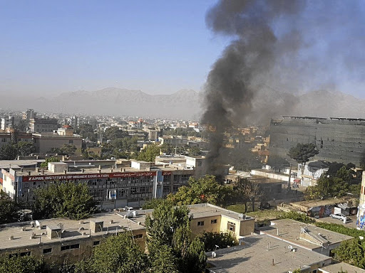 Smoke rises at Zawul Institute of Higher Education after an explosion near the institute in Kabul, Afghanistan, on July 24 2017, in this still photograph uploaded on social media. Picture: AHMAD SHUJA/SOCIAL MEDIA/HANDOUT VIA REUTERS