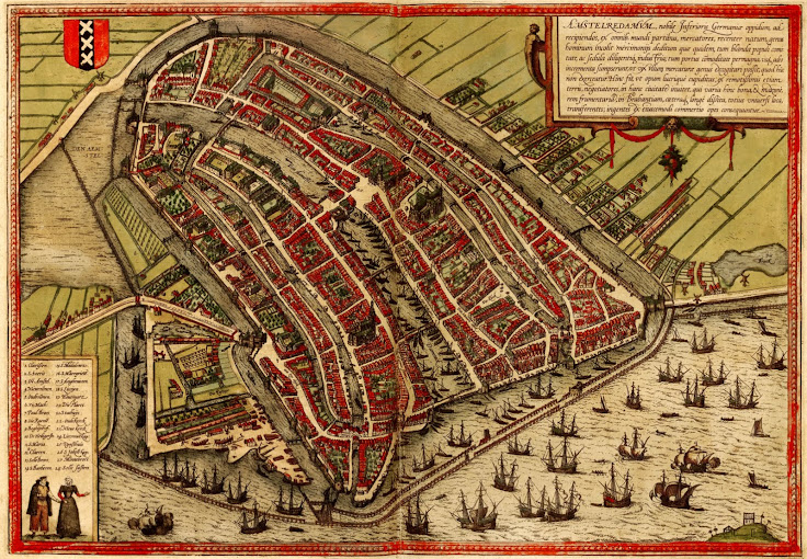 Map of Amsterdam from the 16th century.  Photo: Hebrew University of Jerusalem & The Jewish National & University Library.