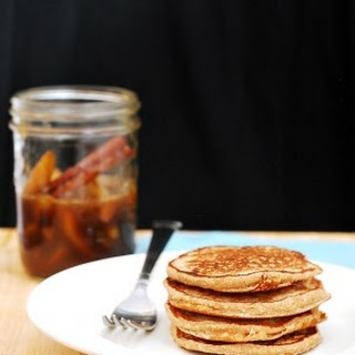 Cinnamon Oat Pancakes with Spiced Pear Syrup #BrunchWeek.