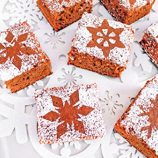 Snowflake-Dusted Gingerbread Squares