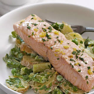 Poached Salmon with Potato Salad.