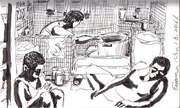 Photo: 牛驥同一灶雞棲鳳凰食2011.11.13鋼筆 為了方便監看收容人動態,監獄舍房裡的廁所就只有一片矮牆,進來關除了沒有自由也沒有隱私,這種待遇不分貴踐…文天祥在獄中的感慨當是如此吧!