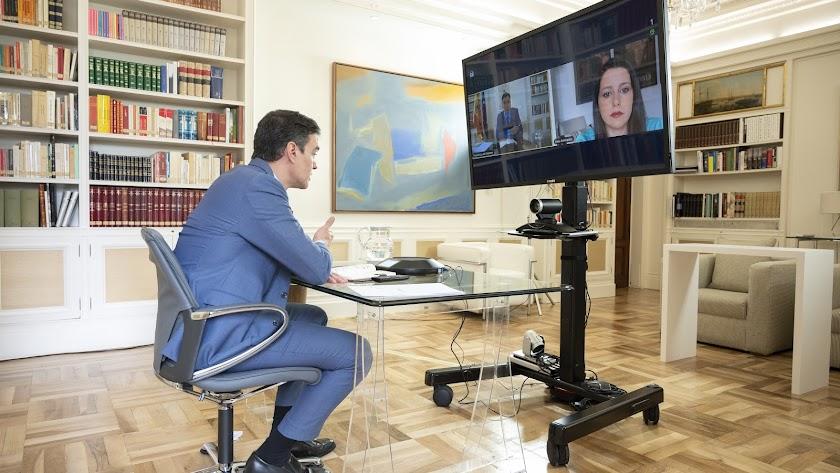 Sánchez y Arrimadas, en videoconferencia.