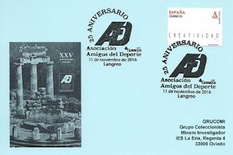 Photo: Tarjeta del Matasellos del 25 aniversario de la Asociación Amigos del Deporte en La Felguera, Langreo