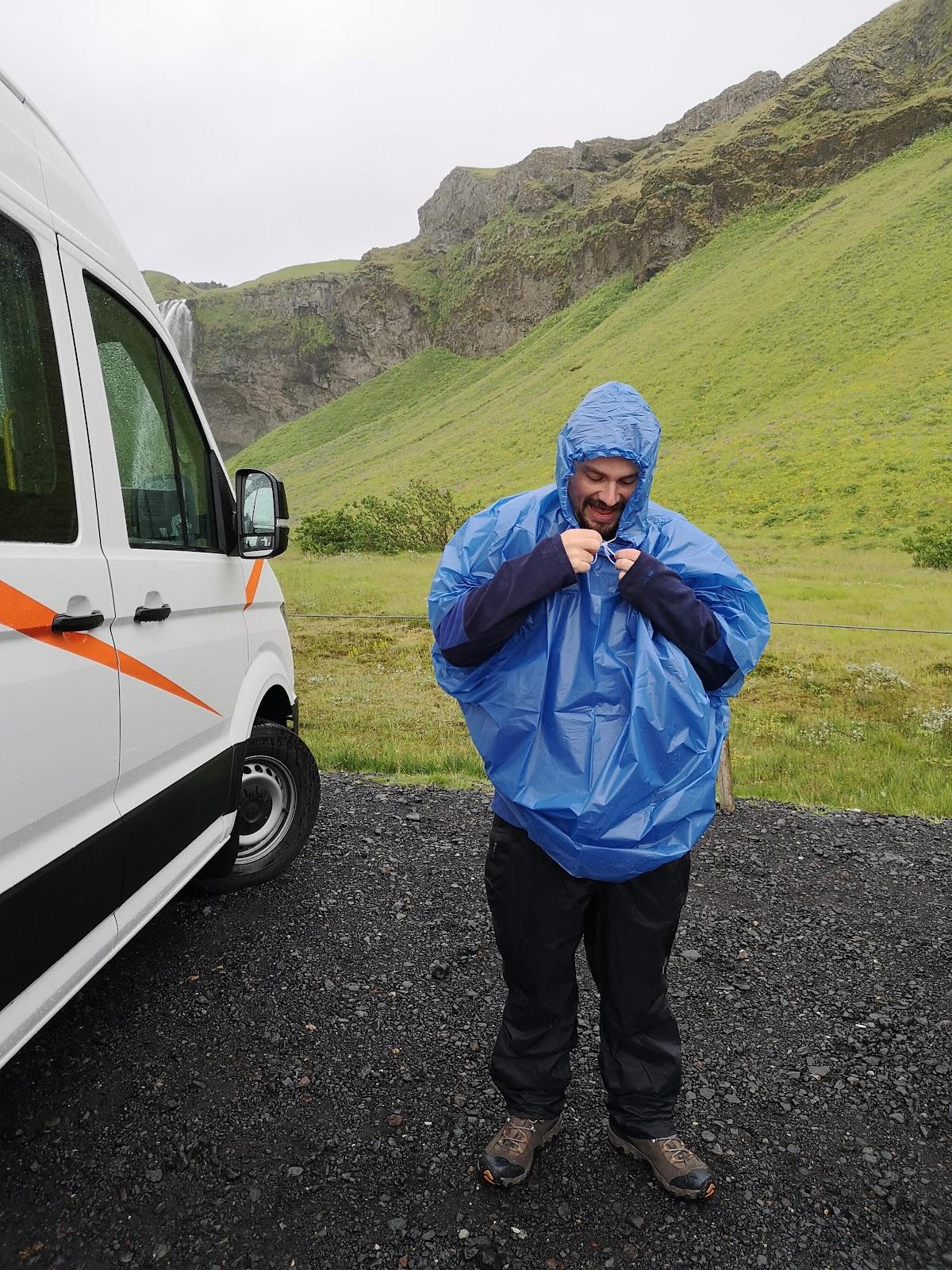 Traveler in rain gear.