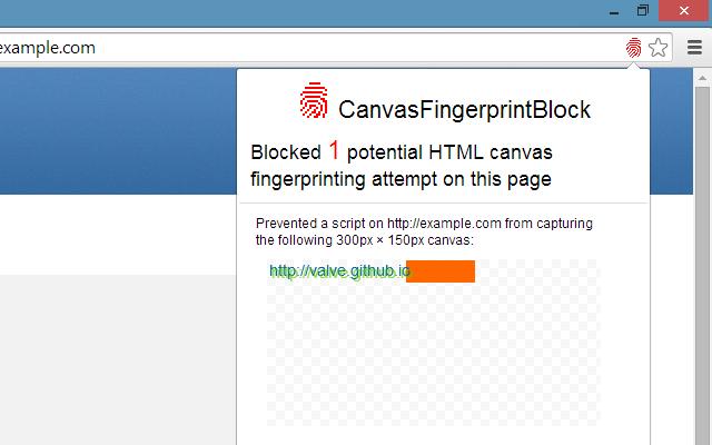 CanvasFingerprintBlock chrome extension