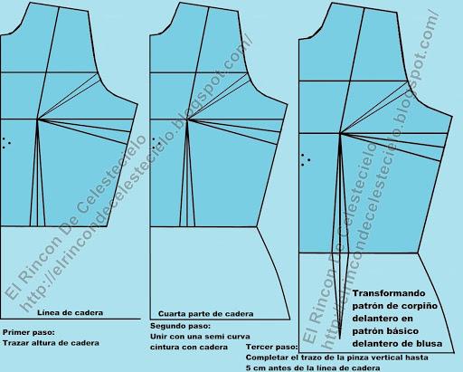 Transformando corpiño en patrón de blusa completo