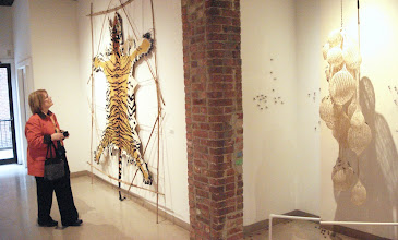 """Photo: My tiger being admired, and round the corner you can see Adrienne Sloane's """"2 Degrees Celcius"""". Photo credit: Ruth Marshall"""