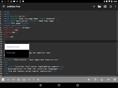 anWriter free HTML editor 11