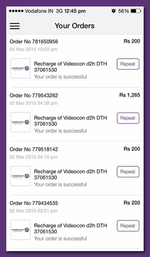 Videocon d2h Recharge- screenshot