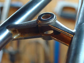 Photo: Brake bridge is hollow underneath.  I also add a stainless washer for the brake mount.