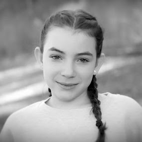Paige by Sandy Considine - Black & White Portraits & People ( black and white, braids, young girl )