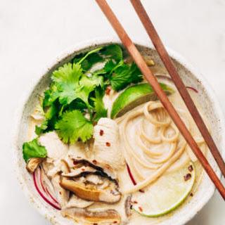 Creamy Comforting Thai Chicken Coconut Noodle Soup.