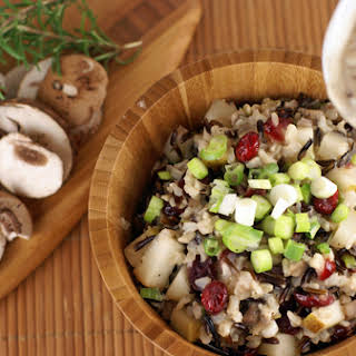Wild Rice Stuffing with Pears, Cranberries and Creamy Rosemary Mushroom Sauce.