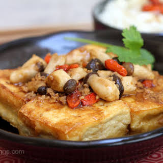 Braised Tofu with Baby King Oyster Mushrooms.