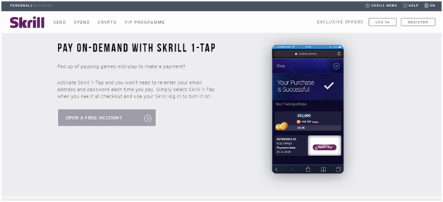 Skrill 1-tap Feature