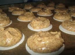 Spoon batter by rounded spoonfull onto baking wafers and place on cookie sheet lined...