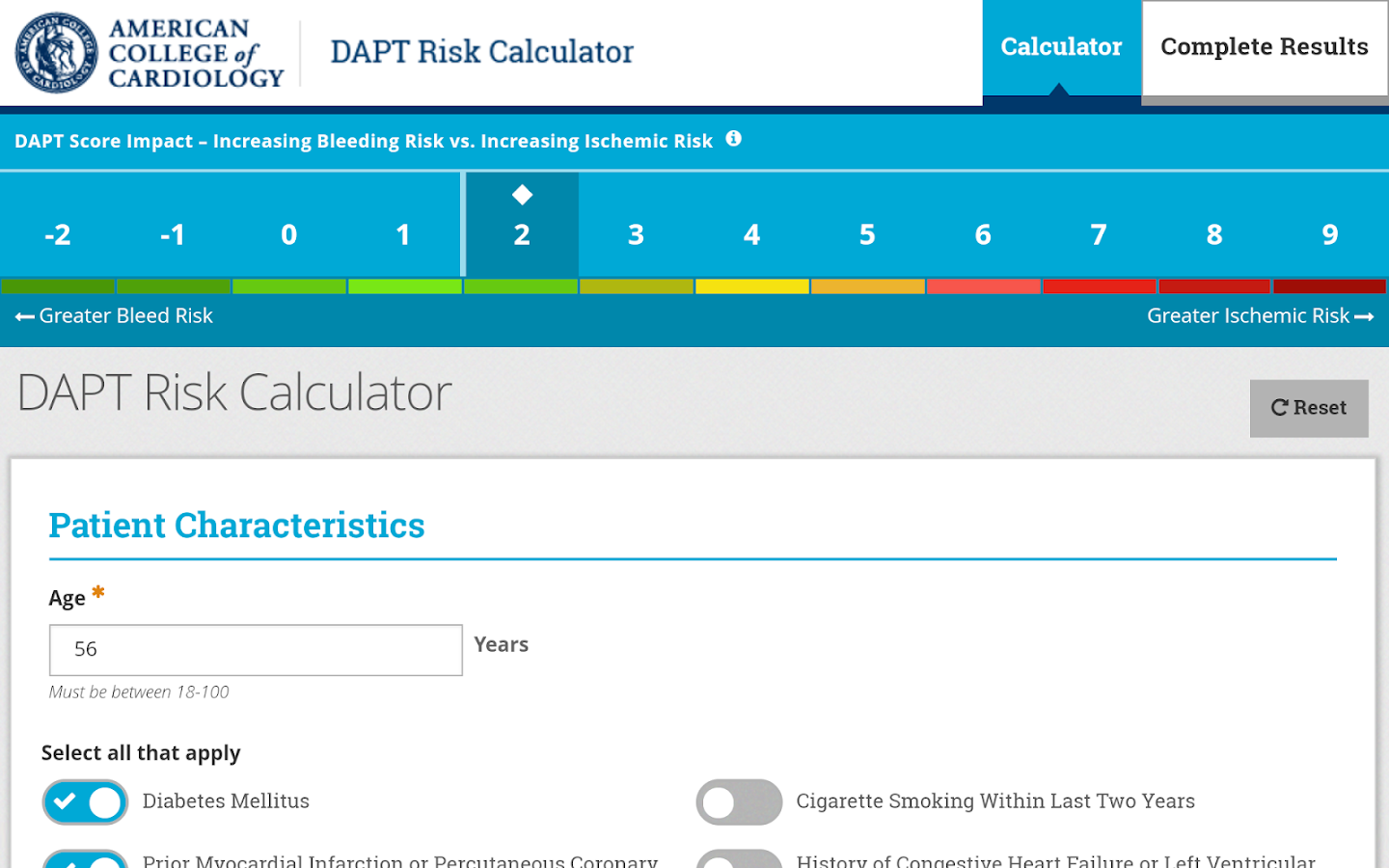 DAPT Risk Calculator- screenshot