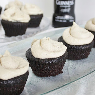 Vegan Guinness Chocolate Cupcakes with Maple Whiskey Vanilla Frosting.