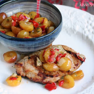 Smoked Cherry Pork Chops with Rainier Cherry Salsa.