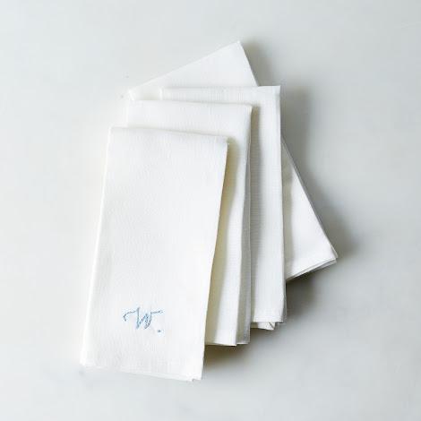 White Linen Napkins with Monogram Option (Set of 4)