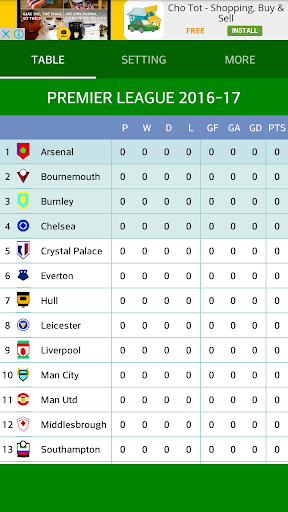 Download premier league table 2016 17 google play for League table 2016