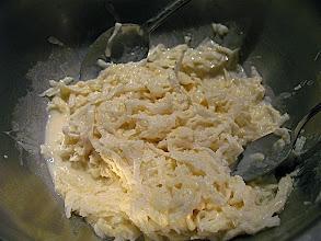 Photo: grated daikon radish mixed with flour and salt